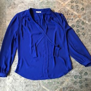 Pleione blue long sleeve blouse size small